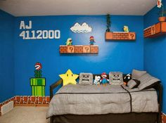 HT super mario bros room 04 jef 130917 608 Dad Gets 1 Up for Super Mario Bros. Super Mario Bros, Bedroom Themes, Kids Bedroom, Geek Bedroom, Bedroom Ideas, Bedroom Decor, Deco Gamer, Mario Room, Brothers Room