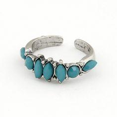 Retro Vintage Ocean Blue Jewel Fashion Ring