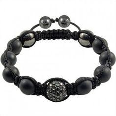 Black Shamballa Bracelet with Diamonds