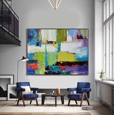 Handmade Extra Large Contemporary Painting, Huge Abstract Canvas Art, Original Artwork by Leo. Hand paint. white, blue, purple, green.