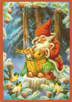 New Double Christmas Cards by Lars Carlsson Vintage Styled Norway Christmas, Swedish Christmas, Christmas Gnome, Scandinavian Christmas, Christmas Post, Vintage Christmas Cards, Christmas Pictures, Vintage Cards, Christmas Sayings