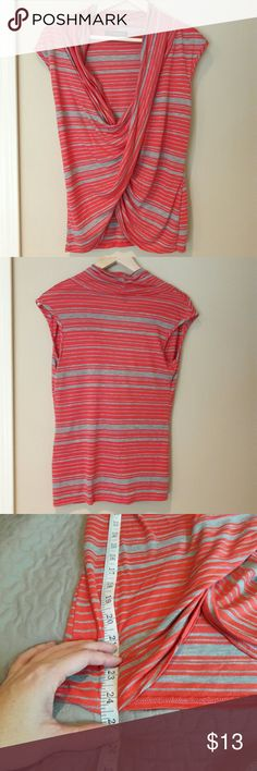 Green Envelope ⏺️ striped top In perfect condition. Very cute low v neck shirt. Has gray and Reddish orange stripes. Bust and length Measurements provided in pics above. True to size. From a smoke and pet free home. Fast shipping! Office - Vacation - Wedding - Fun - Dress up - date night - cruise - spring - summer *IF YOU LIKE MY ITEMS, please FOLLOW ME to see NEW ARRIVALS that are added weekly! * Green Envelope Tops