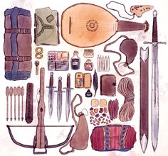 Drawing all day every day. — Some of my bard's things because I only draw. Character Creation, Character Concept, Character Art, Character Sheet, Dnd Characters, Fantasy Characters, Tag Art, Concept Art Tutorial, Prop Design