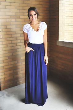 Navy Maxi Skirt - Dottie Couture Boutique