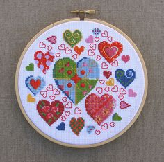 Cross-stitch hearts