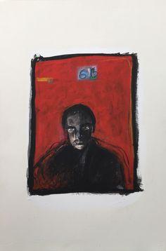 Título: Autorretrato con rojo  Autor: Alvaro Galindo Vácha  Dimensiones: 38 x 57 cm  Técnica: Óleo sobre papel  Año: 2003  Firmado: Frente y Revés