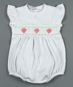 Look at this #zulilyfind! Hug Me First White Strawberries Pima Bubble Romper - Infant by Hug Me First #zulilyfinds