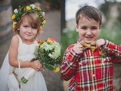 Plaid Shirt Ring Bearer (Photo One) -- flowergirl in white wearing flower crown, ring bearer in plaid with bow tie Wedding Bells, Wedding Events, Jennifer Edwards, Ring Bearer Outfit, Event Photography, Flower Crown, Southwestern Ranch, Escondido California, Groom