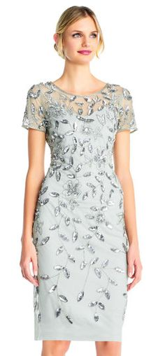 Adrianna Papell | Floral Beaded Dress with Short Sleeves