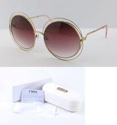 Women Accessories: New Authentic Chloe Sunglasses Carlina Ce114s Gold Transparent Pink BUY IT NOW ONLY: $159.0