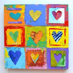 9 primitive hearts love ORIGINAL HEART ART mixed media impasto wood  by Elizabeth Rosen