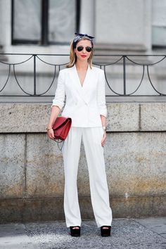 Head-to-Toe White Style from New York | Fashionsnap.com