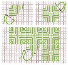 Hardanger Embroidery Ideas triangle stitch, one of my favorites - Broderie Bargello, Bargello Needlepoint, Needlepoint Stitches, Needlework, Blackwork Embroidery, Cross Stitch Embroidery, Embroidery Patterns, Hand Embroidery, Cross Stitch Patterns