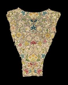 Back of an embroidered bodice, English about 1600. Linen with silk and gold-colored metallic thread and spangles embroidery.
