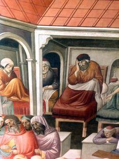 Agnolo Gaddi - La Leggenda della vera Croce: 3 Preparazione della Croce, dettaglio - affresco - 1380 -1390 - parete destra Cappella Maggiore - Basilica Santa Croce, Firenze