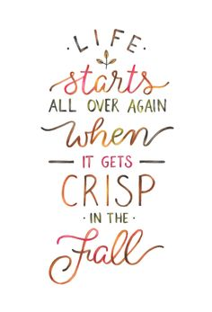 Life starts all over again when it gets crisp in the fall - The Great Gatsby, F. Scott Fitzgerald. A hand lettered book quote. Illustrated using watercolour brush lettering and coloured pencil blending.