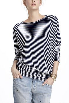 Banded-waist + a pattern? Perfect for pooch-hiding.  Striped Thin-Ribbed Boatneck #anthropologie