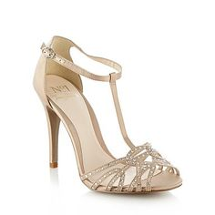 Beige High Heel Diamante Strap Sandals - Size 9+ - Shoes  boots - Women -