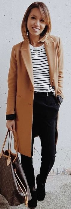 #winter #outfits brown coat and black pants. Pic by @eninad42.