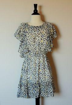 Vintage 80s Floral Dress wtih Leopard Spots and Flutter Sleeves. $28.00, via Etsy.
