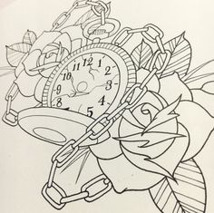 Line work for tomorrow - Tattoo Pins Tatto Clock, Clock Tattoo Design, Clock Tattoos, Tattoo Coloring Book, Coloring Pages, Pocket Watch Drawing, Time Piece Tattoo, Tattoo Drawings, Art Drawings