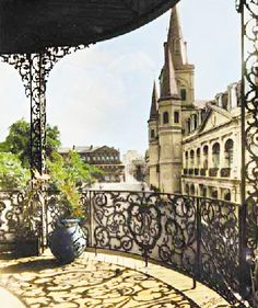 New Orleans, wrought iron beauty...my favorite balcony view from the Pontalba Apartments looking towards downtown.