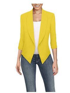 HyBrid Womens Casual Work Office Open Front Cardigan Blazer Jacket Made in USA (Neon Pink) - Blazers For Women, Blouses For Women, Coats For Women, Women Blazer, Zara Mode, Evening Blouses, Silk T Shirt, Zara Fashion, Mode Outfits
