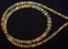 "46 cts Super Metallic Fire Caramel Ethiopian Welo Opal Faceted beads 4-6 MM 16 """
