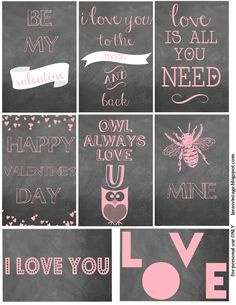chalkboard inspired free printable Valentine's Day cards via @Kerry Louise