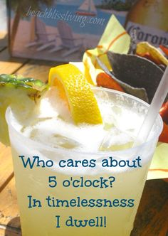Who cares about 5 o'clock? Tropical drink photograph at Tiki Bar in Florida.