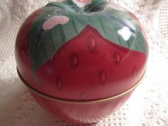 Vintage STRAWBERRY Tin Container Red Berry by curlygirlboutique, $7.95