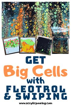 See how to use fleotrol and swiping to get big cells. Flow Painting, Acrylic Painting Techniques, Pour Painting, Painting Process, Painting Lessons, Painting Tutorials, Acrylic Pouring Techniques, Acrylic Pouring Art, Acrylic Art