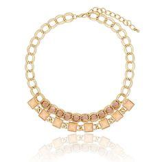 "Clo Clo London - Britney. Faux gemstones on gold-coloured chains High polish finish Lobster Clasp Medium weight Length:43cm (16.9"") - 52cm (20.5"")  Décor length: 14cm (5.5"")"