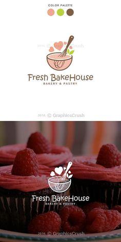 Bakery Logo Pastry Logo Whisk Logo Bowl Logo by GraphicsCrush Baking Logo Design, Cake Logo Design, Logo Restaurant, Logo Dessert, Logo Cupcake, Logo Panaderia, Logo Boulangerie, Logo Doce, Logo Patisserie