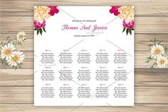 Wedding Seating Chart Template by Wedding Templates on @creativemarket