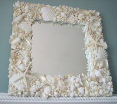 Beach Decor Seashell Mirror, Nautical Decor White Shell Mirror, Coastal Decor Seashell Wall Mirror, – Home Design Arts Seashell Frame, Seashell Art, Seashell Crafts, Beach Crafts, Starfish Mirror, Seashell Garland, Seaside Decor, Beach House Decor, Coastal Decor