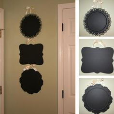 Thrift Store Trays Covered in Chalkboard Paint...