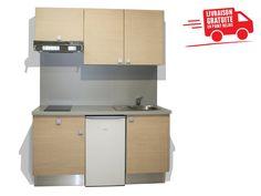Une kitchenette complète en 160cm !  #Qualité #MadeInFrance #Kitchenette Small Kitchenette, Kitchenettes, Mini Kitchen, Lockers, Locker Storage, Kitchen Cabinets, Furniture, Home Decor, Countertop