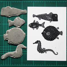 Fish Linoprint Poster Illustration