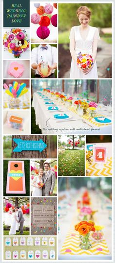 REVEL Weekly: Rainbow Real Wedding. Would LOVE this color palette with more black!