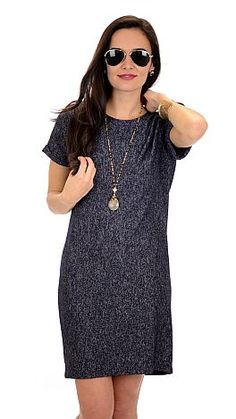 Cuff Sleeve Sweater Dress, Navy :: NEW ARRIVALS :: The Blue Door Boutique