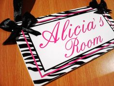 custom teens hot pink shabby lettering zebra DOOR SIGN girly room plaque - animal pattern - PL44 girls christmas