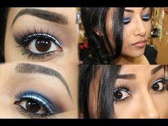 Dramatic Blue Smokey Eye With White Eyeliner