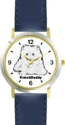 West Highland White Terrier (SC) Dog - WATCHBUDDY® CLASSIC DELUXE TWO-TONE THEME WATCH - Arabic Numbers-Blue Leather Strap-Children's Size-Small ( Boy's Size & Girl's Size ) WatchBuddy. $49.95
