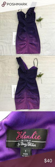 Blonde Nites Purple Ombré One Shoulder Dress Purple ombré one shoulder dress with bedazzles in the front. Ask for measurements if needed :)  Blondie Nites Dresses One Shoulder