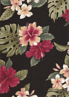10lepea Tropical Hawaiian Hibiscus with red & white plumeria flowers, cotton non-upholstery barkcloth fabric. Add Discount code: (Pin10) in comment box at check out for 10% off sub total at BarkclothHawaii.com