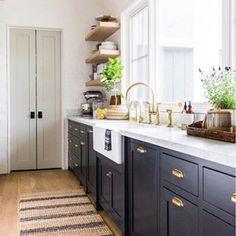 Jute Ticking Indigo Rug Indigo / 2 x 3 Black Kitchen Cabinets Indigo Jute Rug Ticking Diy Kitchen Cabinets, Kitchen Paint, Kitchen Rug, Home Decor Kitchen, Kitchen Interior, New Kitchen, Navy Blue Kitchen Cabinets, Kitchen Remodeling, Black Cabinets