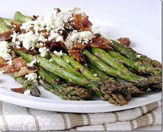 {United States} Roasted Asparagus with Bacon and Cheese