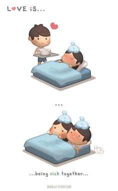 HJ-Story Love is. being sick together - HJ-Story Love Cartoon Couple, Cute Couple Comics, Cute Couple Art, Anime Love Couple, Cute Comics, Funny Comics, Cute Love Stories, Cute Love Quotes, Funny Love