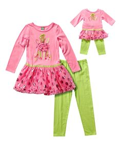 Another great find on #zulily! Pink Gingerbread Treat Tunic Set & Doll Outfit - Toddler & Girls by Dollie & Me #zulilyfinds